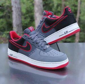 Nike Air Force 1 Low Men's Size 13 Black Dark Grey Challenge Red 488298-036