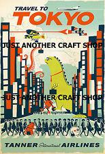 Visita TOKYO JAPAN VINTAGE Turismo Pubblicità VIAGGIO Tanner AIRLINES a3 Poster Sign