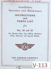 Van Norman 26 Amp 36 Special Models Milling Machine Operations And Parts Manual