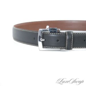 NWT #1 MENSWEAR Brooks Brothers Black Leather Topstitched Silver Buckle Belt 36