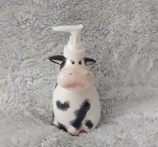 NEW Cow Soap Pump Dispenser Hand Painted Design 7 in Tall Dishwashing Bath Home