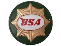 BSA Gold Star Motorcycles Sign 24cm Cast Iron Wall Biker Plaque Man Cave Garage