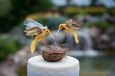 Yellow Hummingbird Wedding Cake Topper: Unique, Rustic Bride & Groom Love Birds