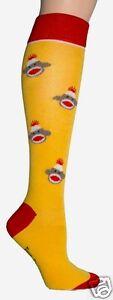 Foot Traffic Yellow Knee High Socks Ladies Monkey Face Socks Yello White Red New