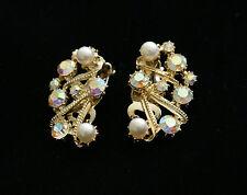 Vintage Aurora Borealis Rhinestone & Pearl Earrings