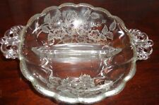 "VINTAGE SILVER OVERLAY ON GLASS 2 PART RELISH FLORAL DESIGN DISH BOWL 6"" DIA"