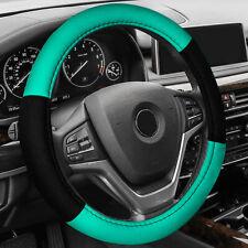 Black Mint Steering Wheel & Belt Pads Set Flat Cloth For Car SUV Van