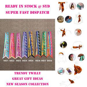 AMIGO Twilly Multi-Use Silk Scarf Wrist Head Band Bag Ribbon Bow Tie Wrap JJMD