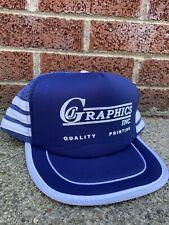 Vintage CJ Graphics 3 Stripe Mesh Trucker Snapback Hat VTG 80s Graphic Artist