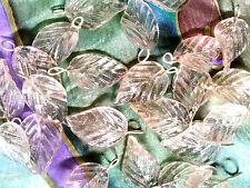 VTG 24 PEACH GLASS CURVY VEINED LEAVES PRESSED BEAD GEM #052811h
