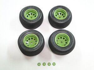 NEW HPI SAVAGE XS MINI FLUX Wheels & Tires Set VGJR Edition GREEN 12MM HXS14