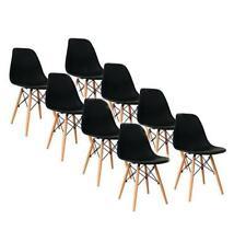 Lot de 8 Chaises Style Scandinaves Nordique Chaise en ABS Plastique Noir