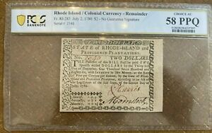 (RI-283) July 2, 1780 $2 RHODE ISLAND Colonial Currency Note - PCGS 58PPQ
