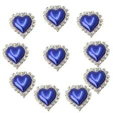 10pcs Flatback Crystal Pearl Heart Embellishment Buttons for Scrapbooking