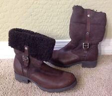 UGG Bellvue Women's Brown  Leather Zip Winter Boots 1914 Buckle Sz 8 European 39