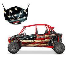 Polaris RZR 4 XP 1000 4 seater graphics wrap kit American Flag Racing Tattered