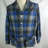 Pendleton 49'er Limited Edition Shirt Jacket Plaid Blue Grey Wool Womens 1X
