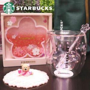 Hot New Pink Sakura Cup Starbucks Coffee Glass Mug Stir Rod Stick Lid,No Coaster