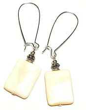 Long Silver Mother of Pearl Shell Earrings Antique Vintage Style Pierced