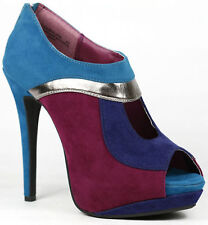 Raspberry Silver Purple Blue Faux Suede Peep Toe High Heel Platform Ankle Bootie