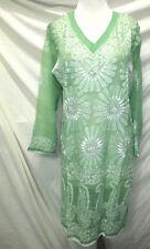 Elegance chikan full hand embroidery long   chiffon  kurta/top size M 40
