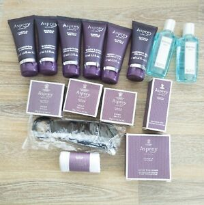 15 pc ASPREY London Purple Water Travel Set Lot - Shampoo Conditioner Comb