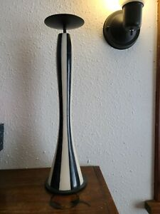 """Black & White Pillar Candle Holder Pier One Holds 3 to 4"""" Pillar Candle"""