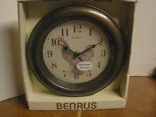 "NEW Benrus Metal Hands Glass Lens Wall Clock ROOSTER 9"" Diameter"