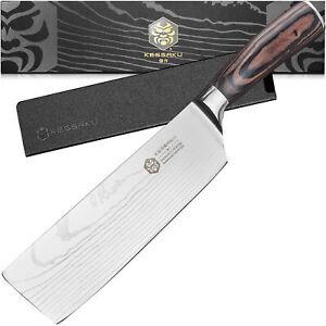 Kessaku 7-Inch Nakiri Vegetable Cleaver Knife - Samurai Series - 7Cr17MoV Steel
