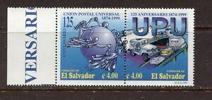 EL SALVADOR 1999, U.P.U. 125TH ANNIVERSARY, Scott 1526 PAIR, MNH