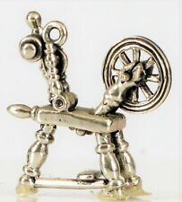 VINTAGE STERLING SILVER SMALL MINIATURE SEWING SPINNING WHEEL CHARM / DOLL HOUSE