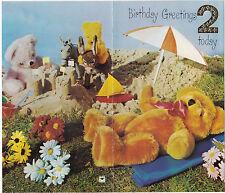 Vintage Happy 2nd Birthday 2 Years Old 1970s Greeting Card ~ Beach Teddy Bears