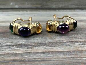 14k Yellow Gold Earrings w/ Amethyst, Citrine & Peridot Gemstones
