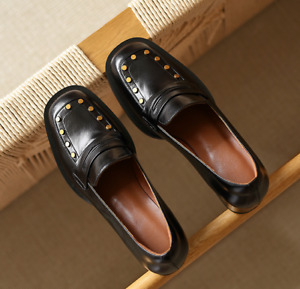 Women Genuine Leather Slip On Loafers Casual Shoes Chunky Heel Round Toe Black