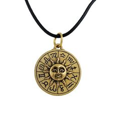 Bronze Plated Zodiac Sign Astrology Pendant Necklace Leather ChainJewelry forMen