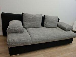Schlafsofa Boxspringsofa Sofa 140x200 grau / schwarz