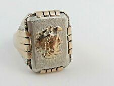 Rare Vintage Mexican Biker Ring Sterling Silver & 10k Eagle Aztec