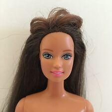 Long Brunette Hair w Bangs Teresa Face TNT Barbie Doll Tan Skin Palms 2 Rear Arm