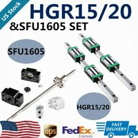 HGR15 HGR20 Linear Guide Rail W Blocks&RM1605 SFU1605 BallScrew Machine BK/BF12