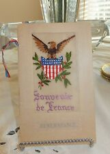 Rare Antique WWI French Silk Embroidered notecard Eagle shield Souvenir remember
