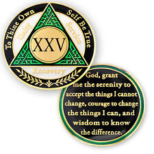 AA coin 25 year, Green White Black, anniversary recovery alcoholics anonymous