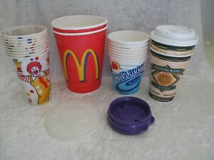 Vintage Lot of 20 1998 Paper, Wax, Insulated McDonald's Cups and Covers - NOS