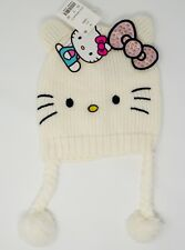 cd918661c Hello Kitty Knit Cap Hat Toddler Girl NWT Off White with Pink Bow