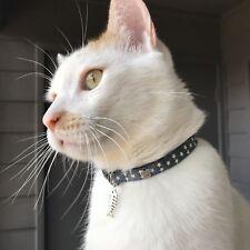 handmade safety Breakaway Cat Collar Blue with White Stars / black buckle