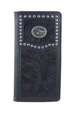 WEST WOLF BLACK VEGAN LEATHER PRAYING COWBOY EMBLEM MENS RODEO BIFOLD WALLET