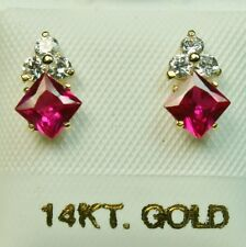 4x4mm princess cut 14k solid yellow gold Red Ruby Small screw back stud earrings