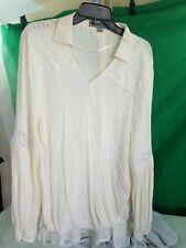 Blouse Cream HI/Lo Banded Front Ruff Hewn Grey Size Large Orig $69.00