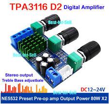 DC 12V-24V TPA3116D2 80W*2 Digital Amplifier Amp Board Treble Bass Volume adjust