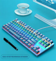 Mechanical Gaming Keyboard RGB LED Rainbow Backlit Wired Keyboard for PC PS4 Mac