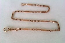 Rare 9ct Rose Gold Edwardian Fancy Link Watch Chain Circa 1908